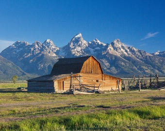 Canvas Wrap Art: Moulton Barn Canvas Print, Landscape Photograph, Western Decor, Mountain Photo, Barn Wall Art, Ready to Hang Art