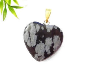 Heart pendant plated gold - speckled Obsidian