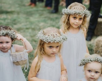 Real BABY'S Breath Floral Crown -Extra Thick | Babies Breath Wreath | Babys Breath headband | Real Flower Crown | Wedding Crown Child
