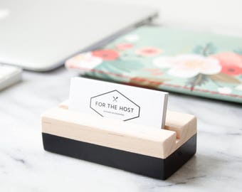Wood business card holder eucalyptus hand painted wood business card holder black hand painted horizontal or vertical business card holder desk accessory office supplies reheart Image collections