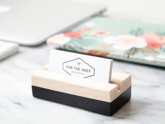 Wood business card holder black hand painted horizontal like this item colourmoves Image collections