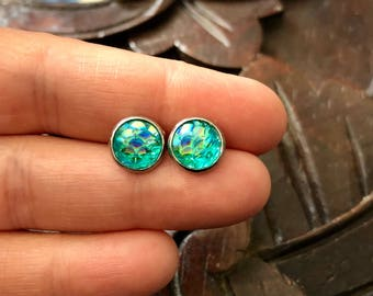 8mm Turquoise Mermaid Scale Studs
