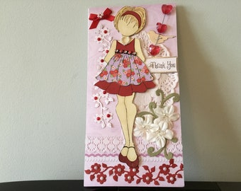 Thank you greeting card, handmade, stamped doll, mixed media