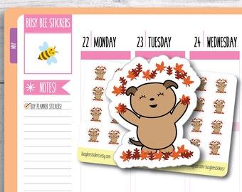 Autumn Planner Stickers, Autumn Leaves, Fall Planner Stickers, Dog Planner Stickers, Happy Planner Stickers, Erin Condren Stickers