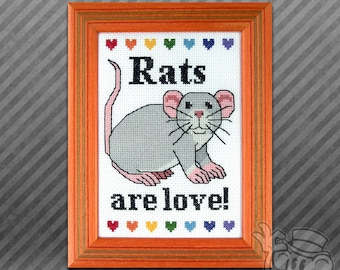 Rat Cross-Stitch Pattern: Rats are Love