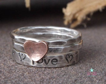 Personalized hand stamped set sterling silver copper heart love promise hammered textured jewelry