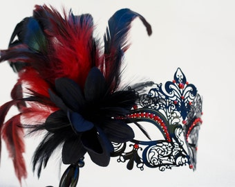 masquerade mask, masquerade mask with a stick and feathers, laser cut metal mask black and red crystals