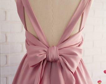 Mauve bridesmaid dress mauve pink dress backless dress prom party dress pink prom dress short bridesmaid dress wedding guest dress