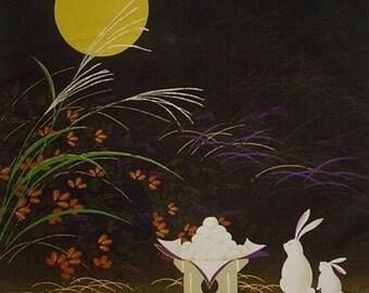 Furoshiki Cloth 'Rabbits and Mochi' Cotton Japanese Fabric 50cm w/Free Insured Shipping