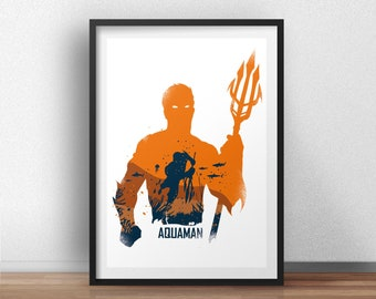Aquaman Poster Design - Superheroes geek Wall art print -  Available in different sizes. Check the drop-down menu for your choice