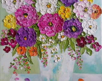 12x16 Impasto Zinnia Flower Painting, Impasto Oil Painting, Summer Bouquet,Ready to ship
