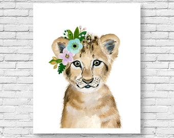 Nursery safari babies, lion cub, Animal Paintings, watercolor lion ,baby shower gift idea, Kids poster, nursery decor, baby shower gift