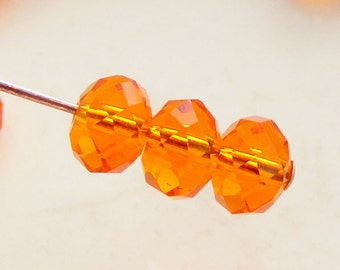 4x3mm Crystal Rondelles Faceted Beads Orange Abacus (Qty 25) MW-4x3R-O