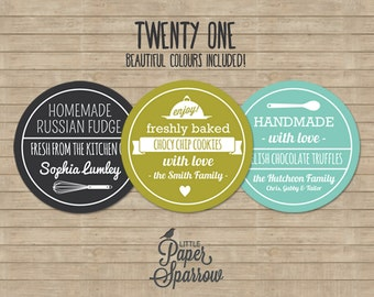 EDITABLE Rustic Food Gift Labels - INSTANT DOWNLOAD - Printable Baking Labels - Handmade Gifts - Farmhouse - 21 Colours