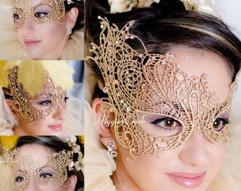 Masquerade Mask Gold Lace Mask Mardi Gras Masks Phantom of the Opera Masks
