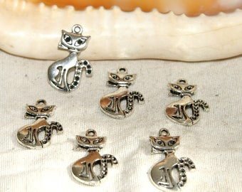 X 6 cats silver 23 mm metal pendants charms