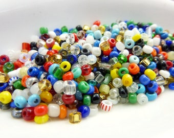 Antique Italian Multi Color Glass Seed Beads Size 8 TUBE SB916