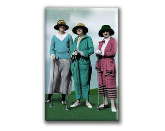 Women Golfer Magnet | Gift for Lady Golfer | Vintage fashion print | Golf Sister | Golf Purse Mirror | Gift for Golf fan | Gift for Wife
