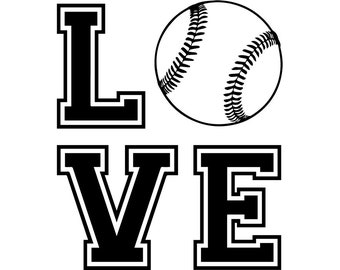 Love Baseball #26 Player Tournament Ball Bat League Equipment School Team Game Field Sport Logo.SVG .EPS .PNG Vector Cricut Cut Cutting File