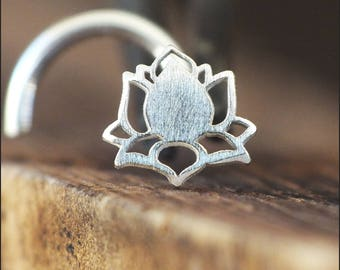 Silver Lotus Flower Nose Stud | Nature Nose Stud | Unique Nose Ring | Handmade Nose Stud | Nose Piercing | Nose Body Jewelry | Nose Jewelry