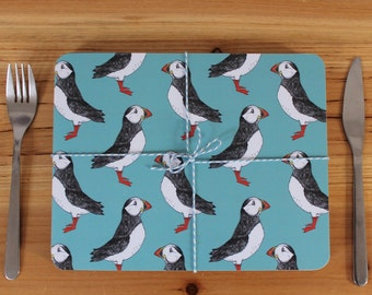 Puffin Placemat Set - place mats - table mats - nautical placemats -housewarming gift -cork placemat-coastal placemats -  iceland - puffin -