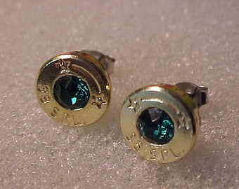 Bullet Earrings 38 Special Brass Shell Emerald Swarovski Crystal - Free Shipping to USA