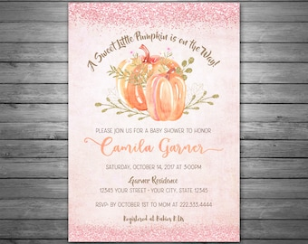 Pumpkin Baby Shower Invitation, Printable Invitation, Fall Baby Shower, Little Pumpkin Baby Shower, Pink and Gold