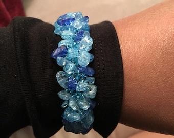 Blue Bead Chip Bracelet