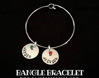Bangle Bracelet   Personalized   Handstamped   Jewelry   Gifts For Her