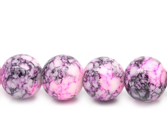 Ten Purple Mottled Round Glass Loose Beads - 10mm