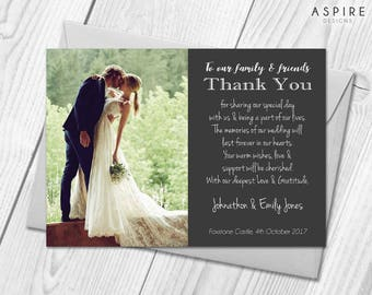Wedding Thank You Cards | Personalised with Photo | Wedding Thanks & Envelopes