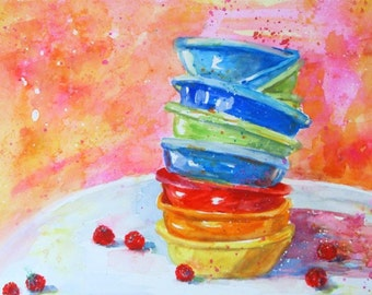 Original Watercolor - SCATTERED RASPBERRIES - Slightly Messy Series - Colorful Art by Rodriguez
