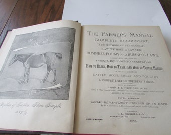 1901 Farmers Manual Book Illustrated Accounting Penmanship Business Forms Breeding Veterinary Etc. Etc.
