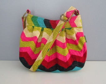 Small Shoulder Bag, Chevron Shoulder Bag, Messenger Bag, Small Crossbody Bag, Hobo Handbag, Adjustable Strap