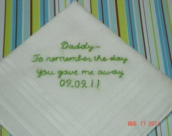 Father of bride handkerchief/hand embroidered/father of groom/groom gift/wedding colors welcome