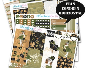 Saint Patricks Day Stickers, St Pattys Day Planner Kit 200+ Planner Stickers, for Erin Condren Horizontal Planner Sticker #SQ00162-ECH