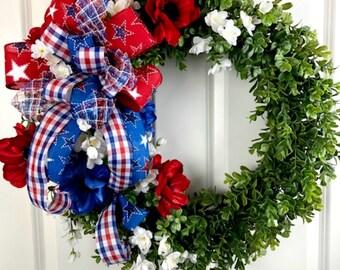 Patriotic Boxwood Wreath, Boxwood Wreath, Floral Boxwood Wreath, Red, White and Blue Wreath, July 4th Wreath, Front Door Decor, Summer Decor