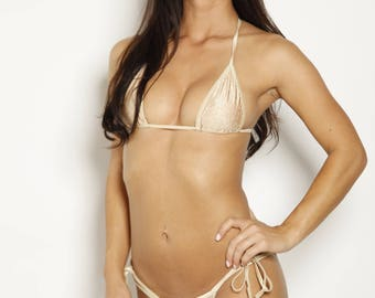 Nude Snakeskin Scrunch Butt Bikini - 3 Piece Set - Tie Side Cheeky Bottom - Triangle Top - Micro G String