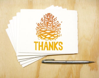 Greeting Cards - Orange Pinecone Thanks - Set of 6 - Block Printed Cards - Thanksgiving - Fall Autumn