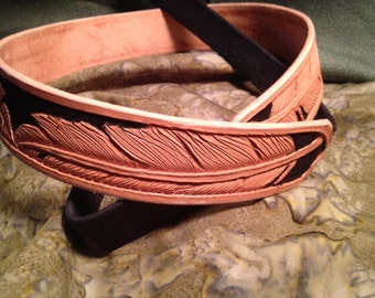 Hand Tooled Feather Leather Belt