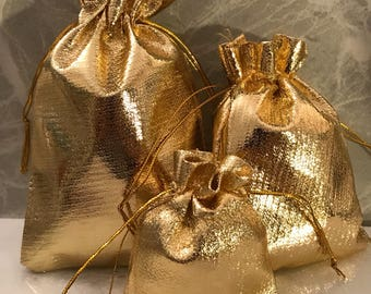 Set of 5 Shiny, metallic gold fabric gift pouches - choose a size