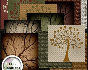 Downloadable Files - Nothing will be shipped - LLL Scrap Creations - My Family Tree Papers Extra - Digital Scrapbooking Kit