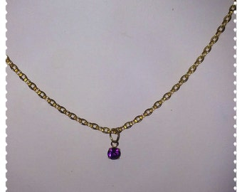 Simple Handmade Amethyst Crystal Drop Necklace Gold Plate Necklace