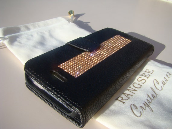 iPhone SE Case /5/ 5s Rose Gold Crystals on Black Wallet Case. Velvet/Silk Pouch bag Included, Genuine Rangsee Crystal Cases.