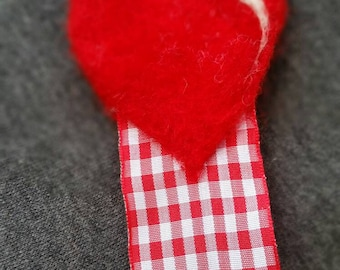 Red needle felted love heart bookmark a prefect gift for your love or a lover of books