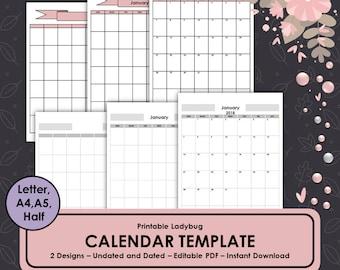 Calendar Template,2018 Calendar,Monthly Calendar,Monthly Planner,Printable Calendar,Monthly Journal,Bullet Journal,2018 Monthly Calendar