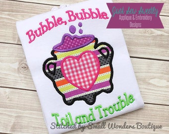 Witch's Caldron Halloween Applique Design - Embroidery Machine Pattern Bubble Bubble Toil and Trouble