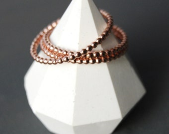Rose Gold Beaded Stacking Rings, Stacking Rings, Rose Gold Stacking Rings, Bead Rings, Small Rings, Layering Rings, Rose Gold Filled