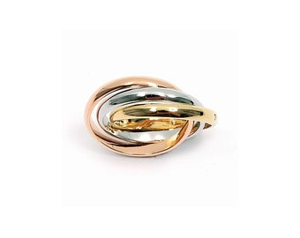 Gold plated 3-tone type wedding band or promise ring