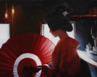 Inside Kiyamachi - oil painting on 33cm x 22cm linen canvas - japanese geisha art asian maiko artwork